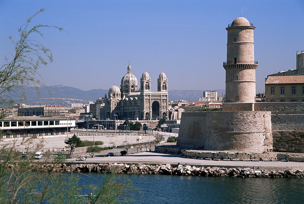 Fort St. Jean and Cathedrale de la Major, Marseille, Bouches-du-Rhone, Provence, France, Europe