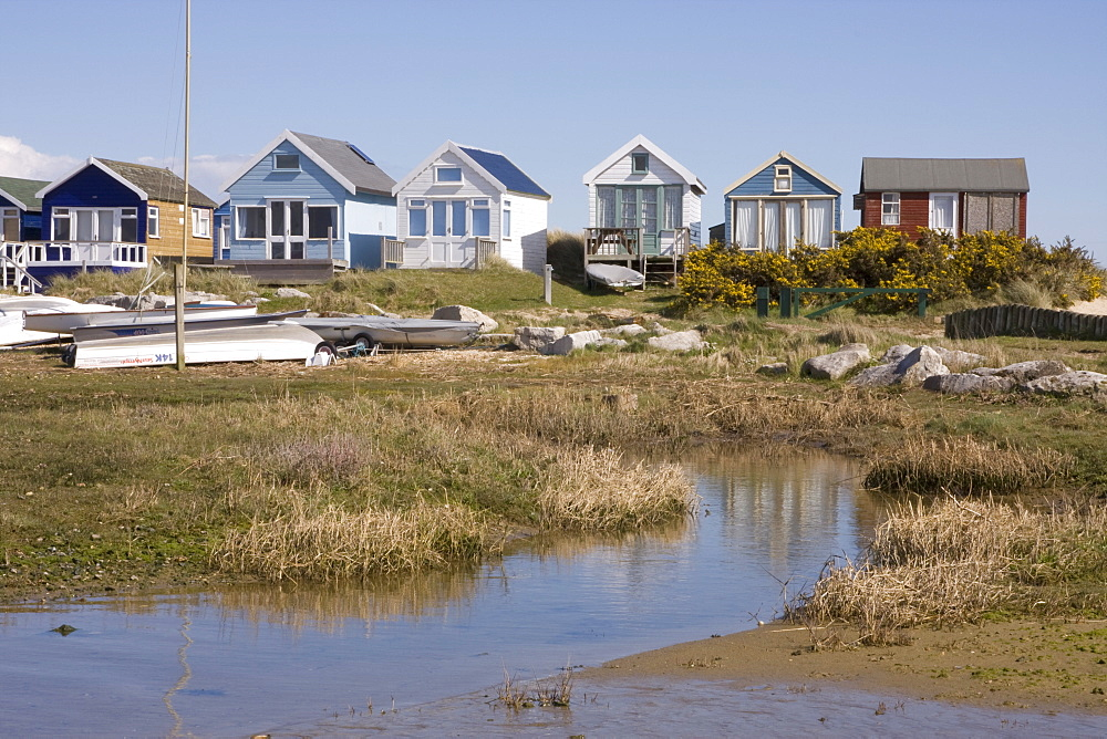 Beach huts on Mudeford Spit or Sandbank, Christchurch Harbour, Dorset, England, United Kingdom, Europe