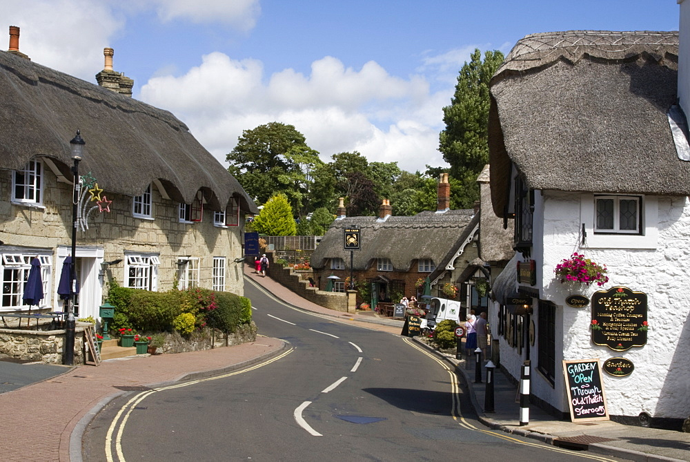 Thatched houses, teashop and pub, Shanklin, Isle of Wight, England, United Kingdom, Europe - 485-9651