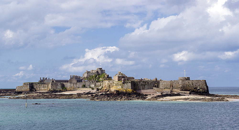 Elizabeth Castle at high tide, Jersey, Channel Islands, United Kingdom, Europe - 485-9678