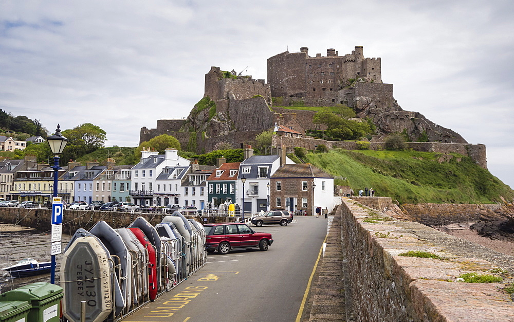 Gorey Castle (Mont Orgueil Castle) and Harbour, Jersey, Channel Islands, United Kingdom, Europe - 485-9680