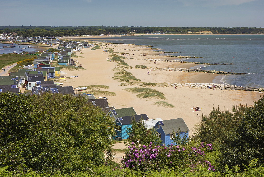 Beach Huts and sand dunes on Mudeford Spit at Hengistbury Head, Dorset, England, United Kingdom, Europe - 485-9684