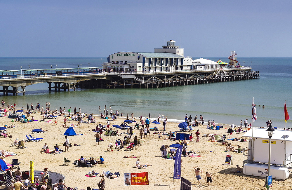 West Beach and Pier with calm sea, Bournemouth, Dorset, England, United Kingdom, Europe
