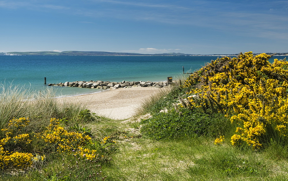 Beach between Hengistbury Head and Bournemouth with Poole Bay and Isle of Purbeck in the background, Dorset, England, UK.