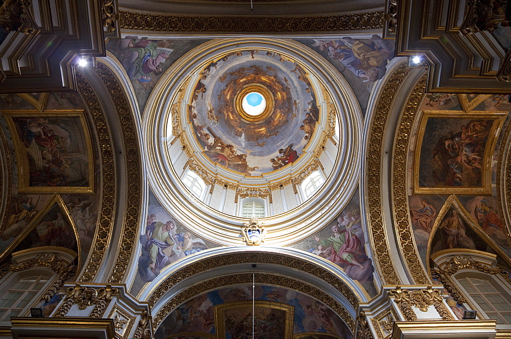 Interior of dome, St. Paul's Cathedral, Mdina, Malta, Europe