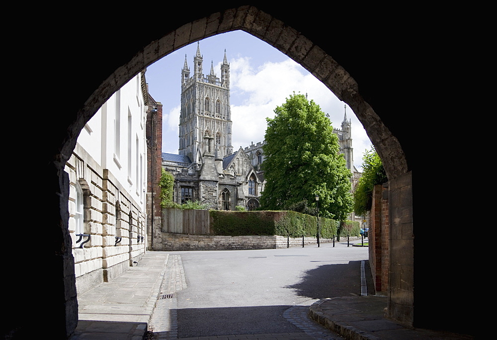 Gloucester Cathedral from the northwest, seen from St. Marys Gate, Gloucester, Gloucestershire, England, United Kingdom, Europe