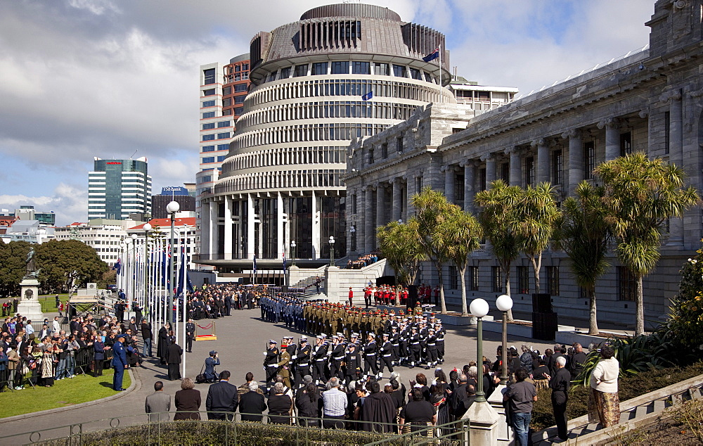 Beehive and Parliament at swearing-in ceremony of new Governor-General, Wellington, North Island, New Zealand, Pacific