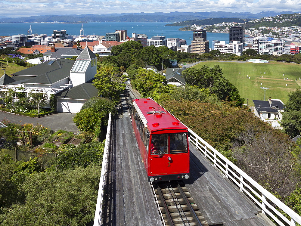 Cable car and view over Wellington city and harbour, North Island, New Zealand, Pacific