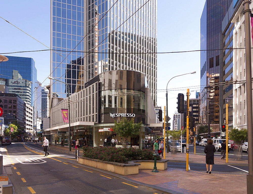 Lambton Quay at junction with Featherston Street, Wellington, North Island, New Zealand, Pacific