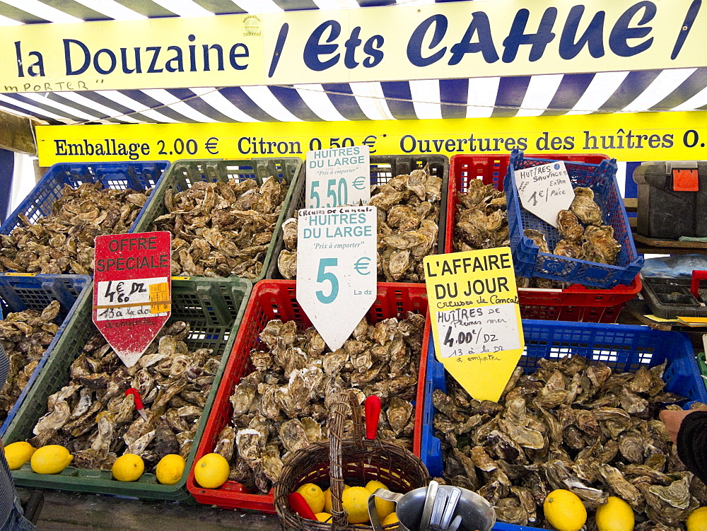 Oysters for sale on market stall, Cancale, Brittany, France, Europe