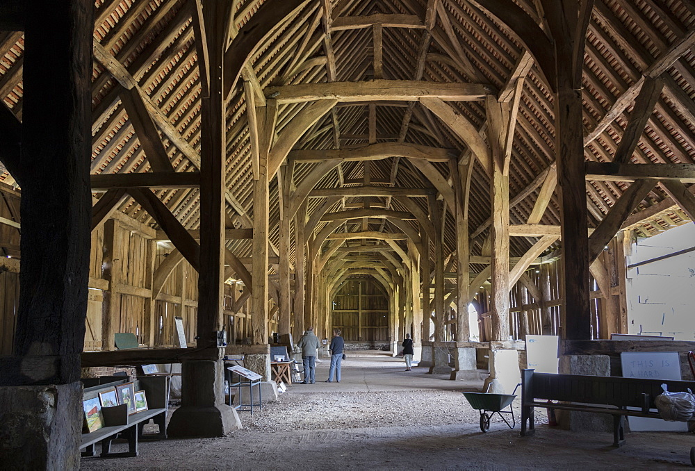 Interior of The Great Barn at Harmondsworth, dating from 1426, Middlesex, England, United Kingdom, Europe