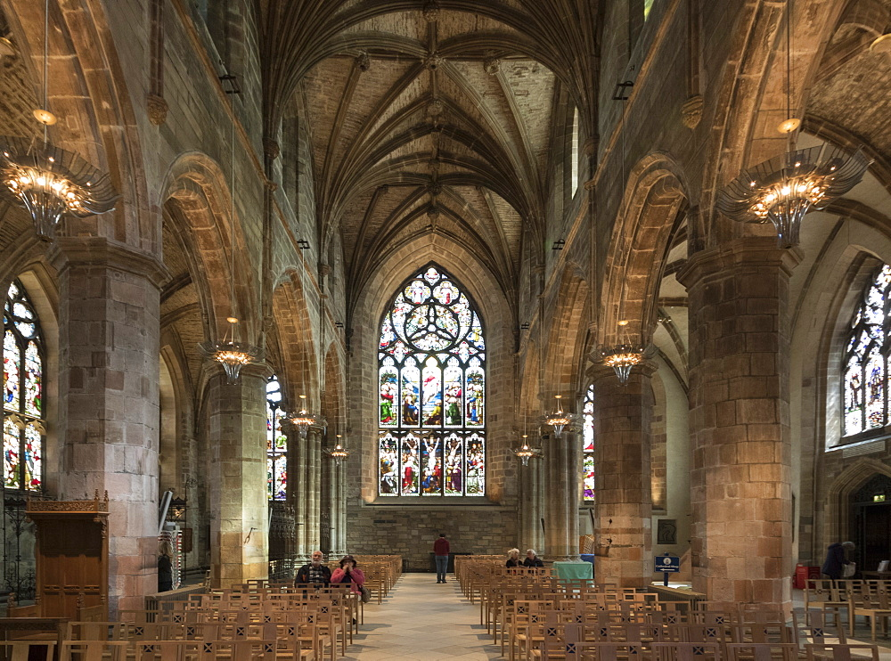 Interior looking east from the crossing, St. Giles' Cathedral, Edinburgh, Scotland, United Kingdom, Europe