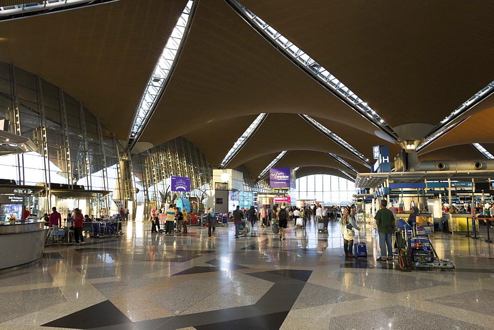 Interior of terminal building, Kuala Lumpur International Airport, Malaysia, Southeast Asia, Asia