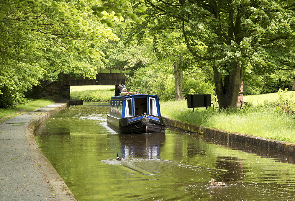 A narrow boat on the Llangollen Canal at Bryn Howel, Denbighshire, Wales, United Kingdom, Europe - 489-1639