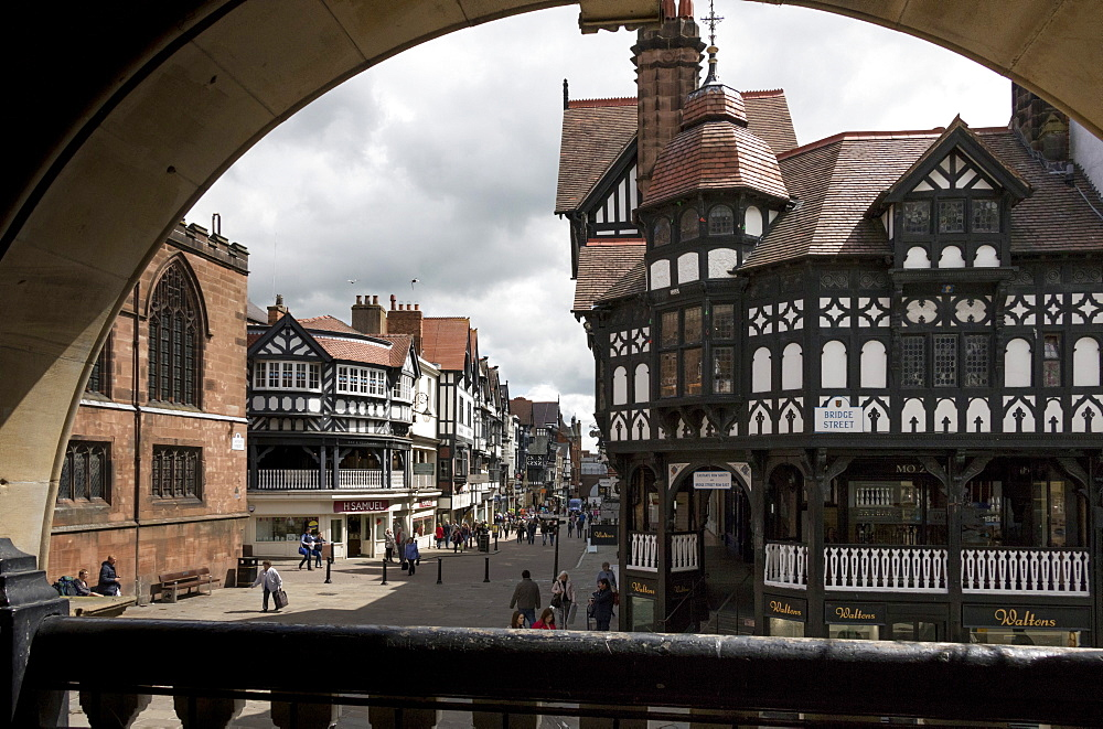 The Rows, Eastgate Street from The Cross, Chester, Cheshire, England, United Kingdom, Europe - 489-1647