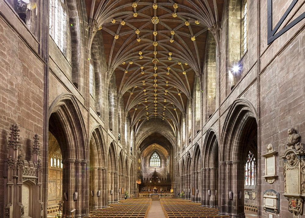 Chester Cathedral, interior looking East, Cheshire, England, United Kingdom, Europe - 489-1650