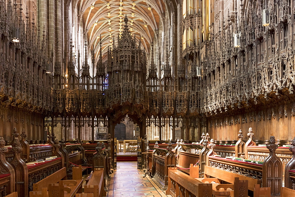 Chester Cathedral choir looking West, Cheshire, England, United Kingdom, Europe - 489-1652