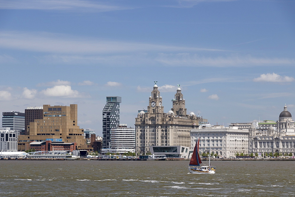 The Royal Liver Building from the Mersey, UNESCO World Heritage Site, Liverpool, Merseyside, England, United Kingdom, Europe