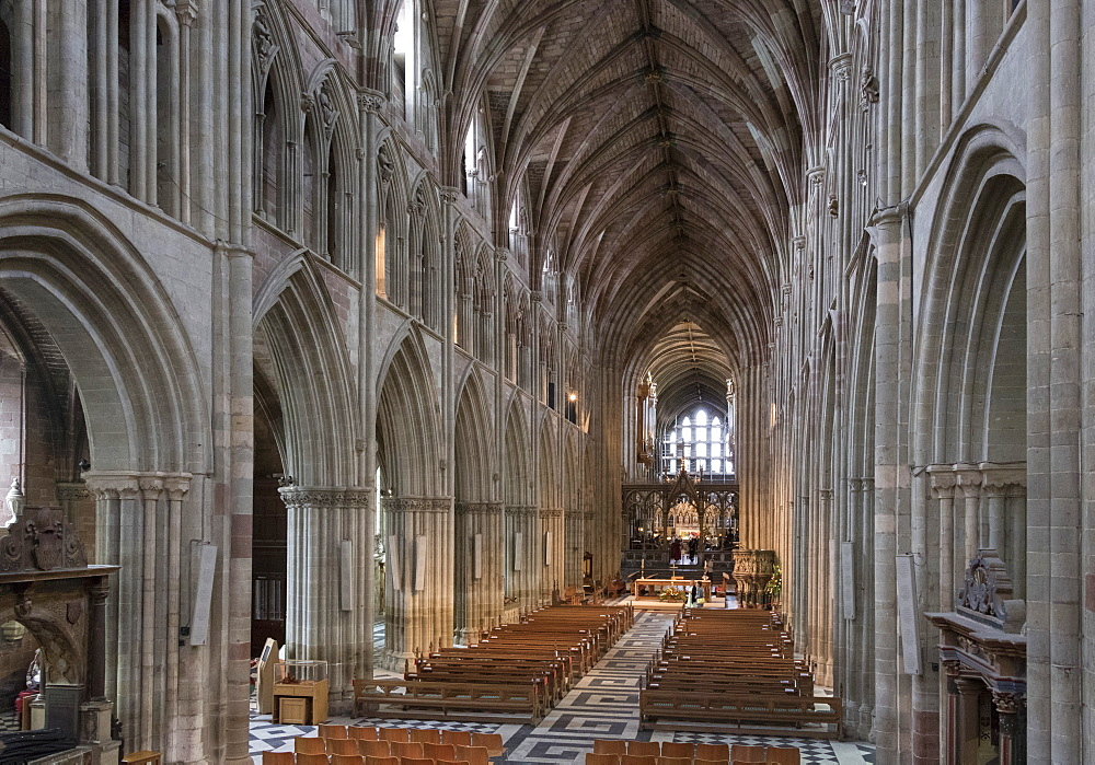 Interior looking East, Worcester Cathedral, Worcester, England, United Kingdom, Europe - 489-1670