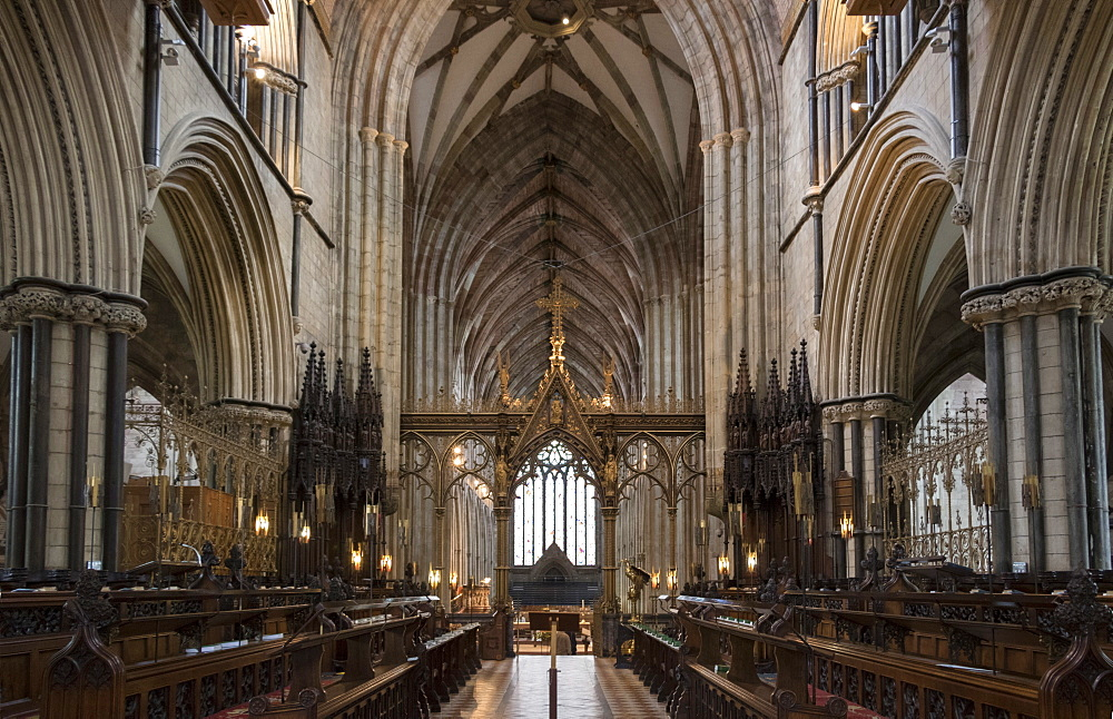 Choir and nave looking West, Worcester Cathedral, Worcester, England, United Kingdom, Europe - 489-1673