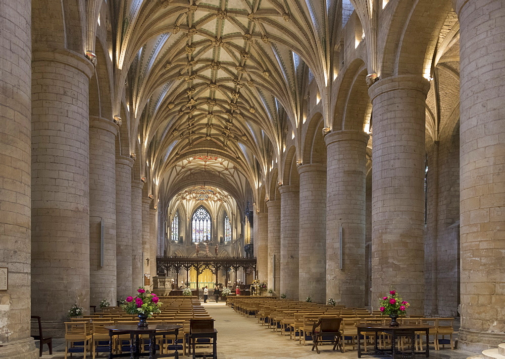 Interior looking East, Tewkesbury Abbey, Gloucestershire, England, United Kingdom, Europe - 489-1677