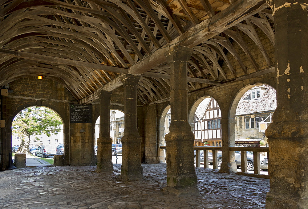 Market Hall dating from 1627, Chipping Campden, Gloucestershire, Cotswolds, England, United Kingdom, Europe - 489-1694