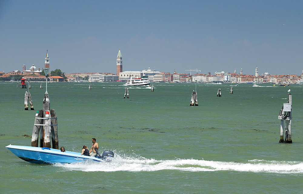 City skyline from Lido, Venice, UNESCO World Heritage Site, Veneto, Italy, Europe - 489-1699