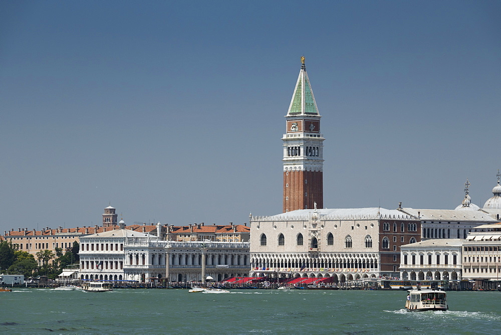 Campanile and Doge's Palace from the water, Venice, UNESCO World Heritage Site, Veneto, Italy, Europe - 489-1701