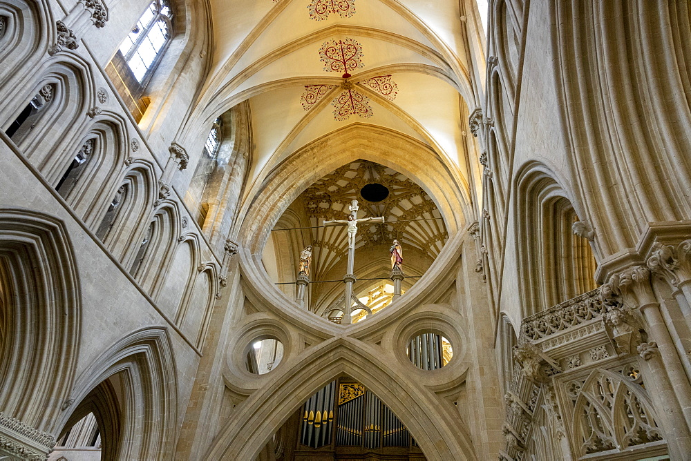 The Scissor arches and the rood cross in the Nave, Wells Cathedral, Wells, Somerset, England, United Kingdom, Europe - 489-1753