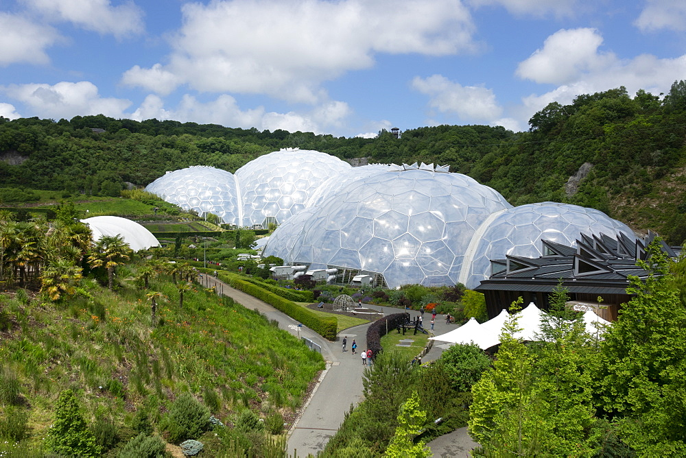 Eden Project, view from entrance path, St. Austell, Cornwall,  England, United Kingdom, Europe - 489-1759