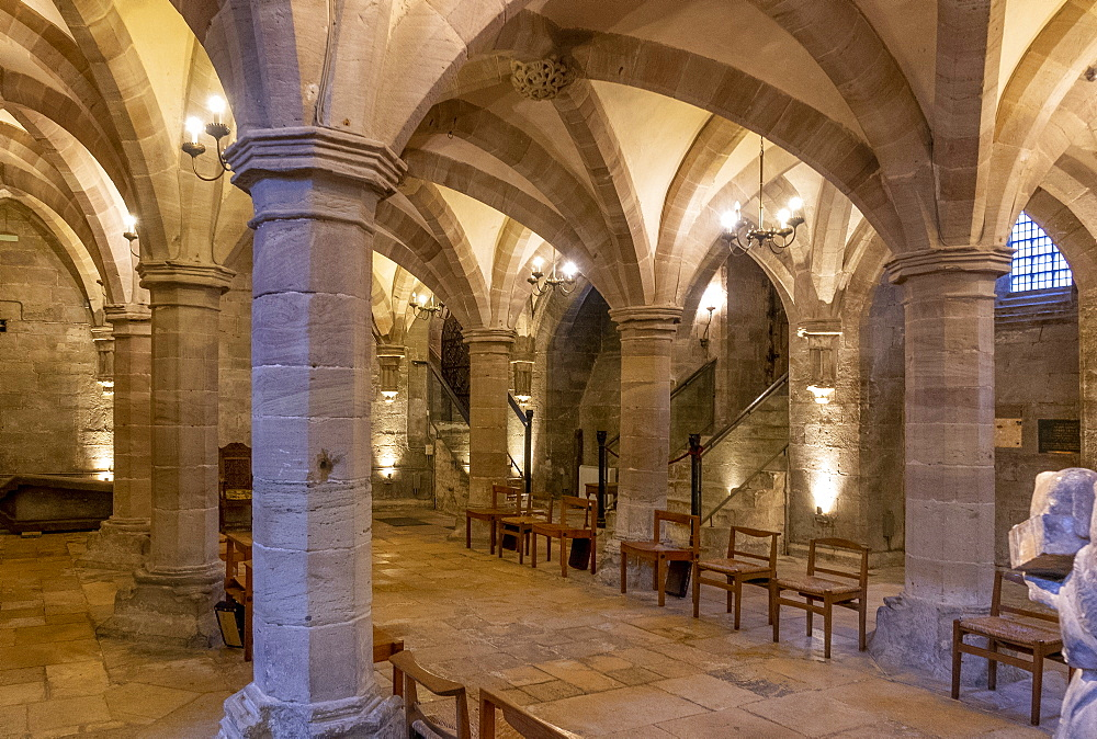 Crypt looking North West, Hereford Cathedral, Herefordshire, England, United Kingdom, Europe - 489-1763