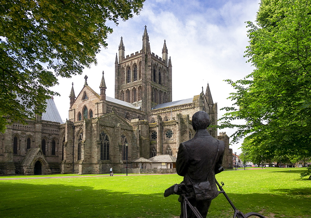 Cathedral from North East and statue of Sir Edward Elgar by Jemma Pearson, Hereford, Herefordshire, England, United Kingdom, Europe - 489-1764
