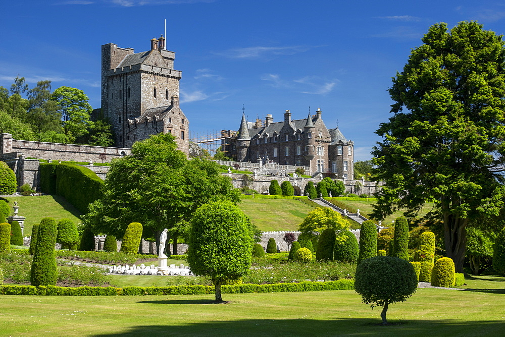 Drummond Castle from the gardens, Perthshire, Scotland, UK