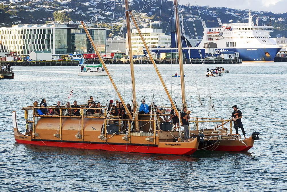 Twin hulled waka at 2018 Waka Odyssey at Wellington waterfront, New Zealand, Oceania - 489-1795