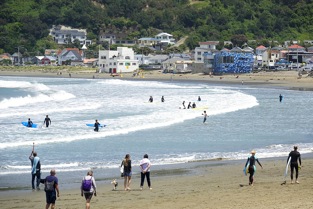 Surfers and walkers, Lyall Bay, Wellington, North Island, New Zealand, Pacific - 489-1797