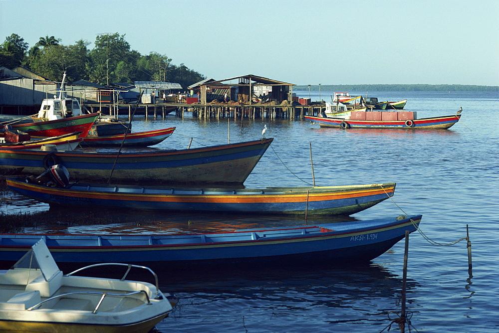 Local boats on the Orinoco river at Pedernales, Venezuela, South America