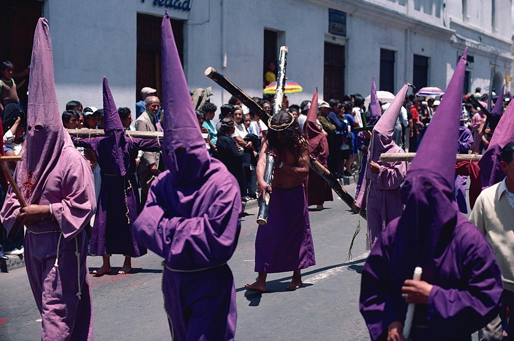 Penitents in Easter parade, Quito, Ecuador, South America