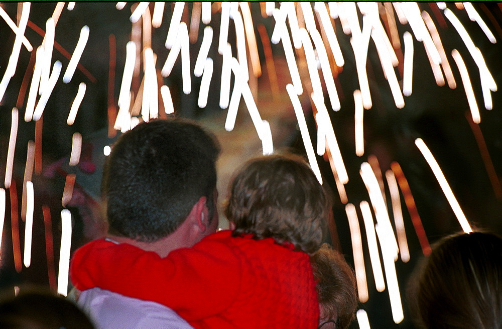 Murcia - Spain Spring Festivals - Burial of the Sardine Spectators watching the fireworks during parades