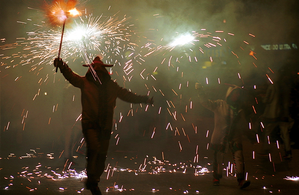 Murcia - Spain Spring Festivals - Burial of the Sardine Dancing with fireworks during the parade