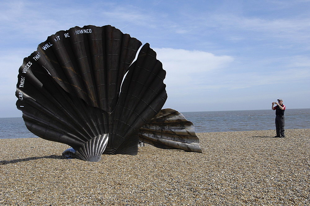 The Scallop sculpture by Maggie Hambling on the beach at Aldeburgh, Suffolk, England, United Kingdom, Europe