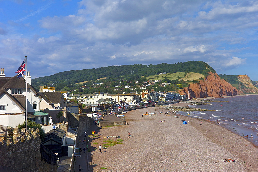 Beach and cliffs on the Jurassic Coast, UNESCO World Heritage Site, Sidmouth, Devon, England, United Kingdom, Europe - 492-3532