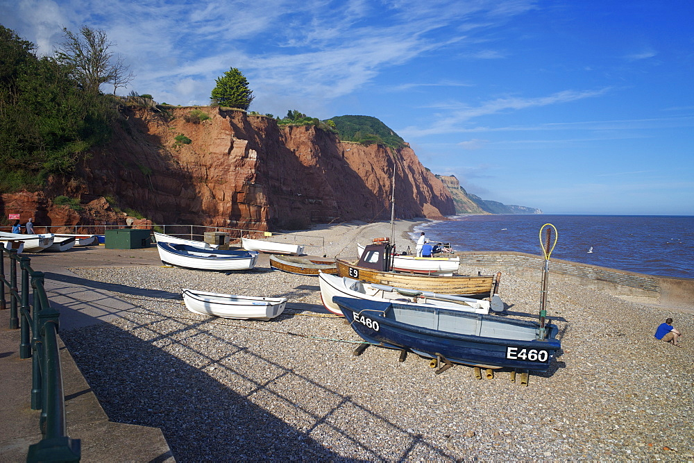 Beach and cliffs on the Jurassic Coast, UNESCO World Heritage Site, Sidmouth, Devon, England, United Kingdom, Europe - 492-3533