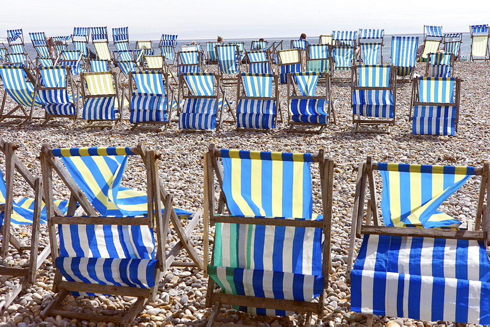 Deckchairs on the beach at Beer, Devon, England, United Kingdom, Europe  - 492-3535