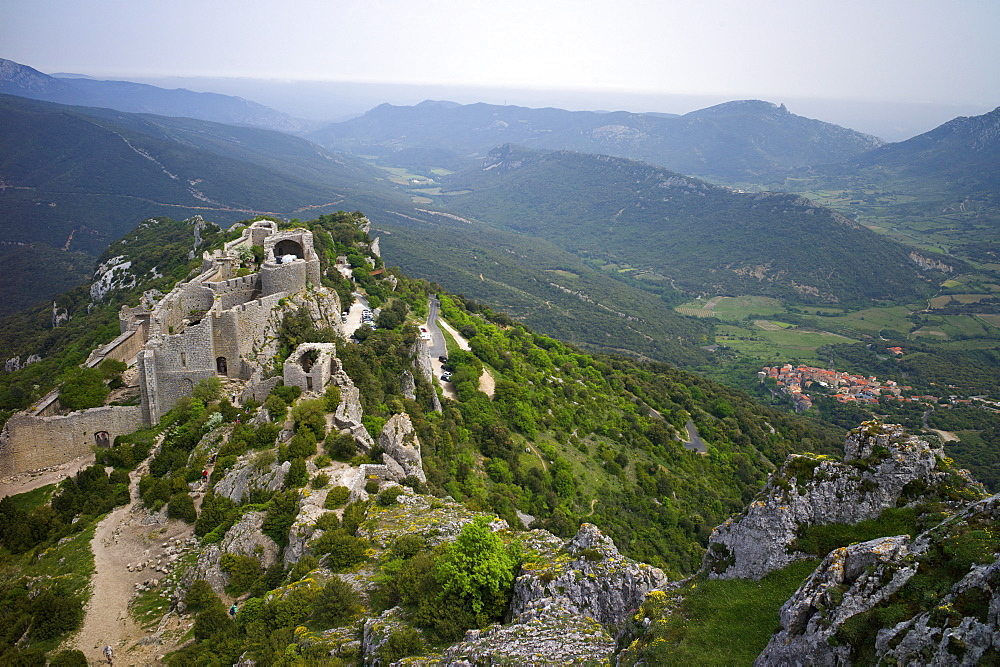 Peyrepertuse Cathar castle, French Pyrenees, France, Europe - 492-3570