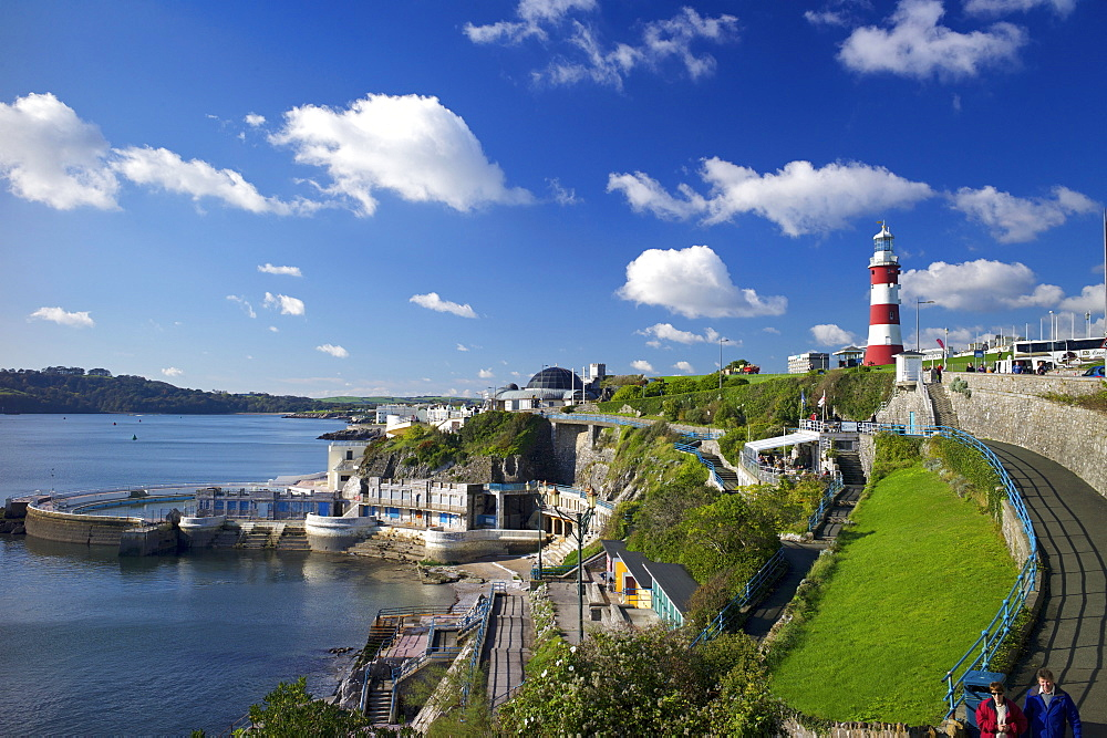 Smeaton's Tower on The Hoe overlooks The Sound, Plymouth, Devon, England, United Kingdom, Europe - 492-3589
