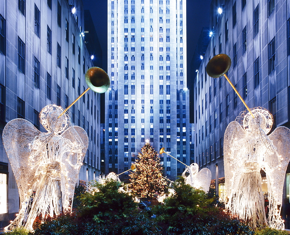 Angels at the Rockerfeller Centre, decorated for Christmas, New York City, USA  - 505-146