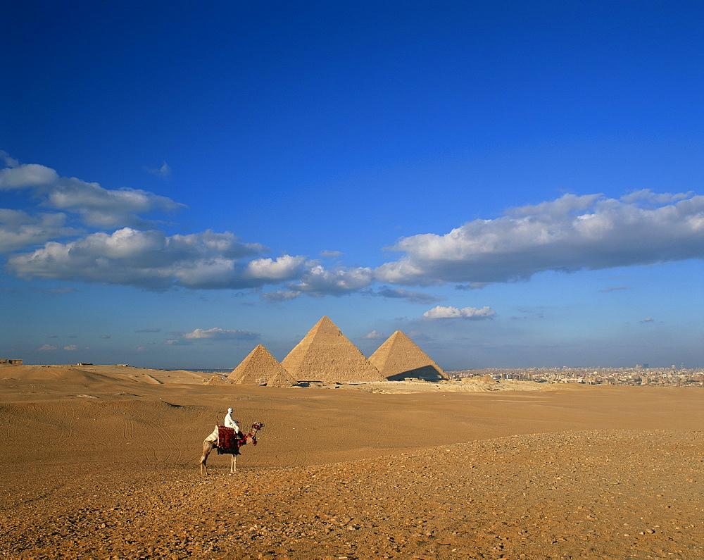 Camel rider at Giza Pyramids, Giza, UNESCO World Heritage Site, Cairo, Egypt, North Africa, Africa - 505-1722