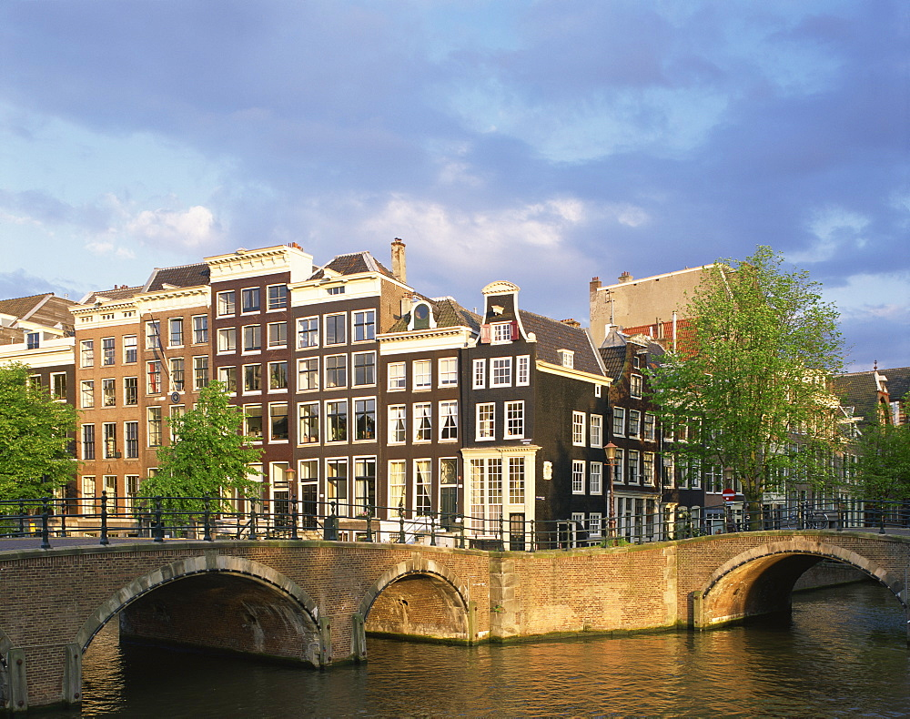 The Keizersgracht and Reguliergracht canal and bridges in Amsterdam, Holland, Europe
