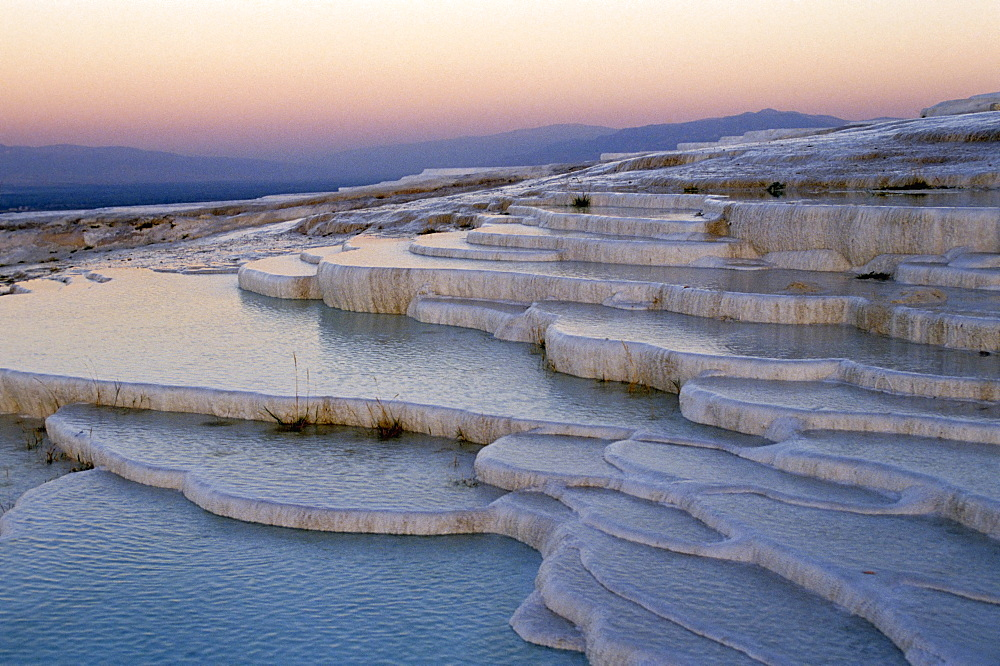 Pools at sunset, Pamukkale, UNESCO World Heritage Site, Anatolia, Turkey, Asia Minor - 508-1044