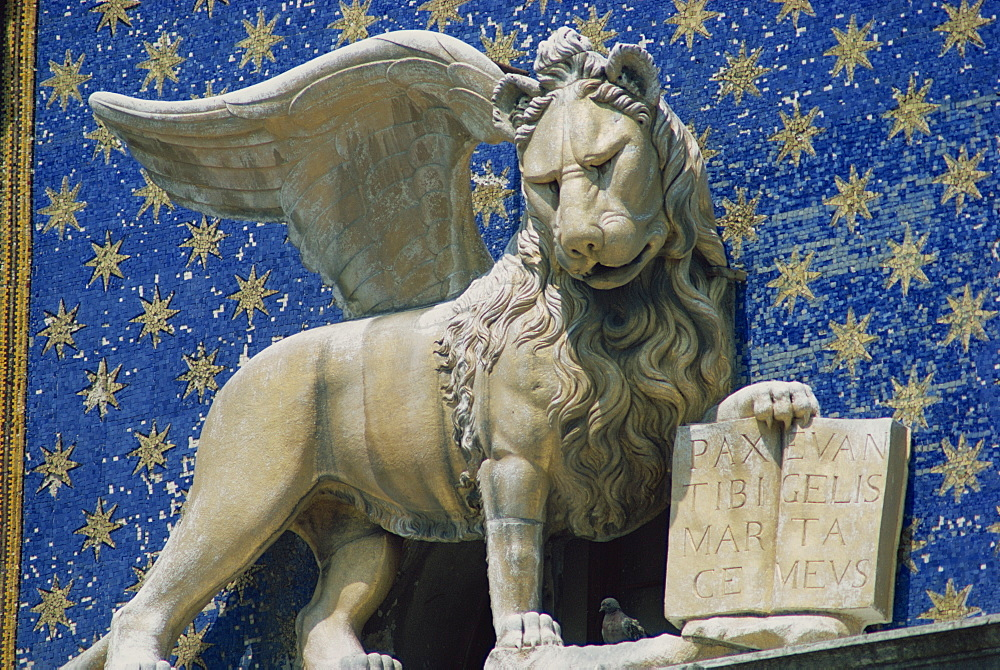 Close-up of the Lion of St. Mark's Clock Tower in Venice, UNESCO World Heritage Site, Veneto, Italy, Europe